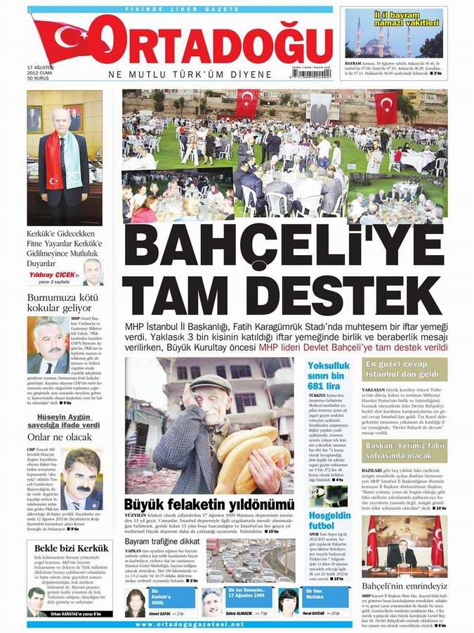 Gazete Manşetleri - 17 Ağustos Cuma 14