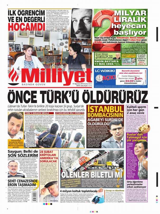 Gazete Manşetleri - 17 Ağustos Cuma 15