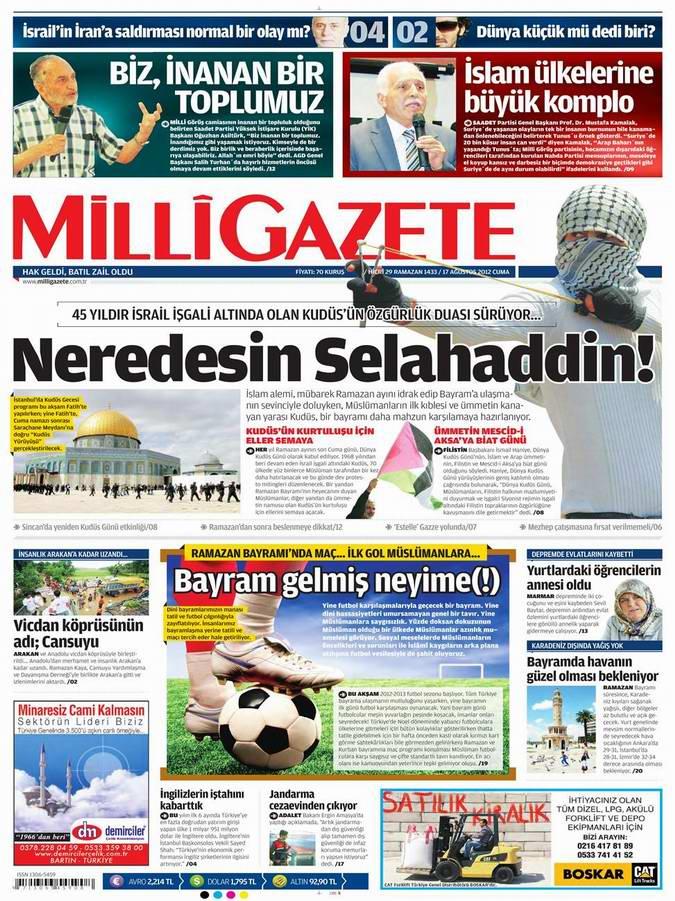Gazete Manşetleri - 17 Ağustos Cuma 16