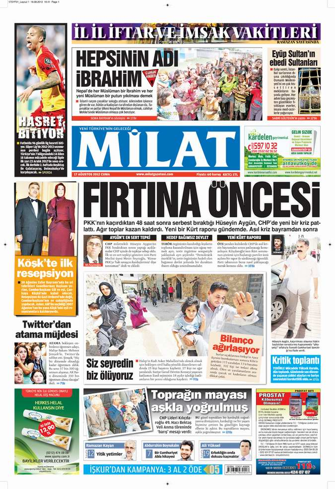 Gazete Manşetleri - 17 Ağustos Cuma 17