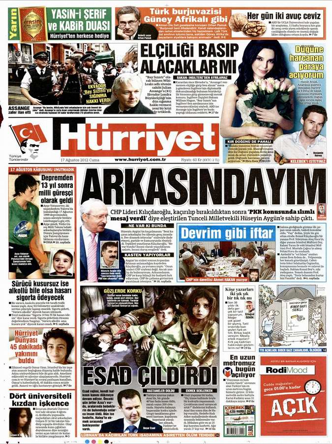 Gazete Manşetleri - 17 Ağustos Cuma 18