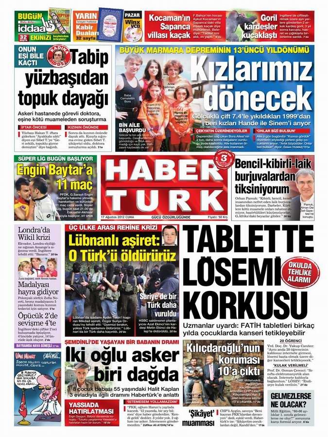 Gazete Manşetleri - 17 Ağustos Cuma 19