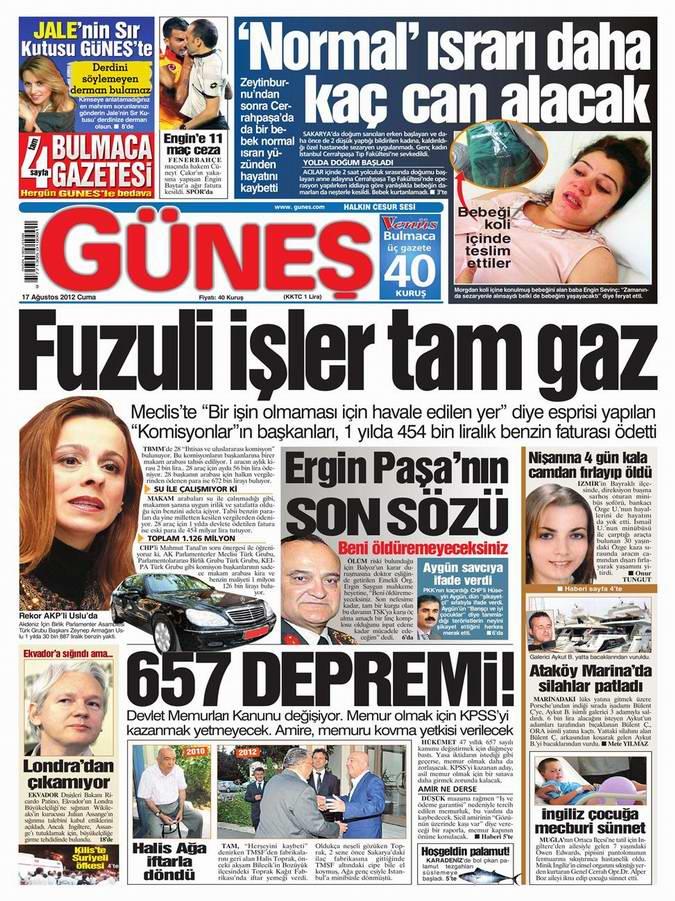 Gazete Manşetleri - 17 Ağustos Cuma 20