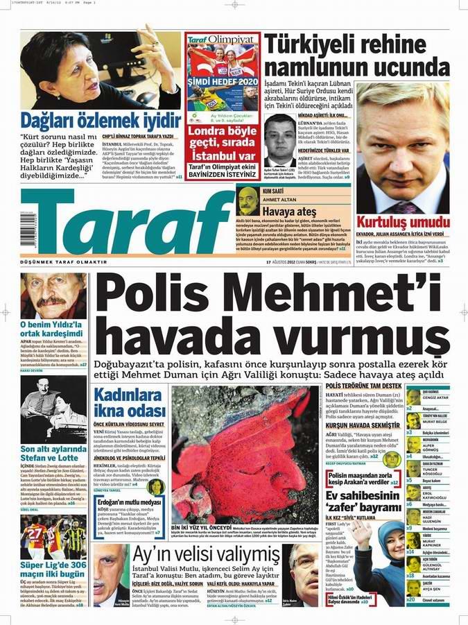Gazete Manşetleri - 17 Ağustos Cuma 8