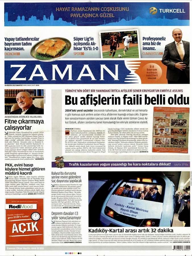 Gazete Manşetleri - 18 Ağustos Cumartesi 1