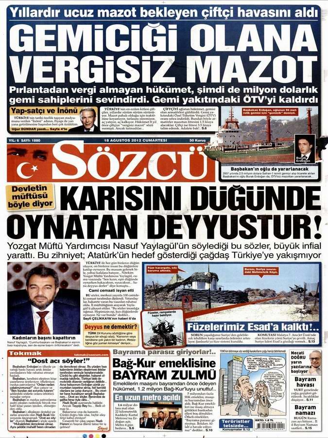 Gazete Manşetleri - 18 Ağustos Cumartesi 10