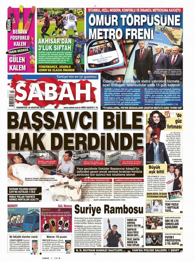 Gazete Manşetleri - 18 Ağustos Cumartesi 11