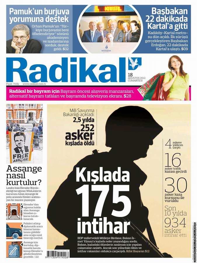 Gazete Manşetleri - 18 Ağustos Cumartesi 12