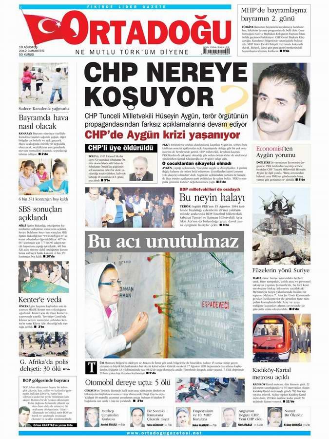 Gazete Manşetleri - 18 Ağustos Cumartesi 14