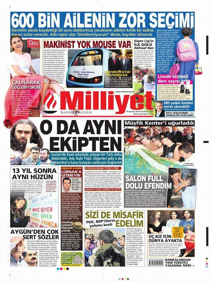 Gazete Manşetleri - 18 Ağustos Cumartesi 15