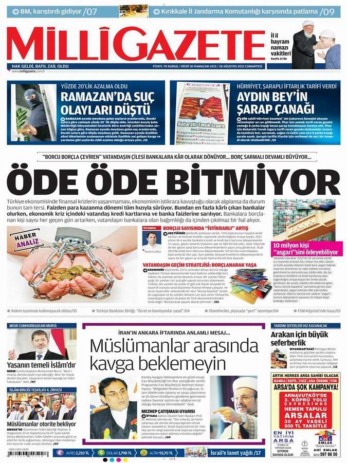 Gazete Manşetleri - 18 Ağustos Cumartesi 16
