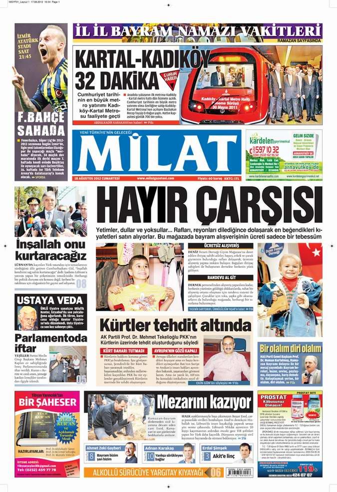 Gazete Manşetleri - 18 Ağustos Cumartesi 17