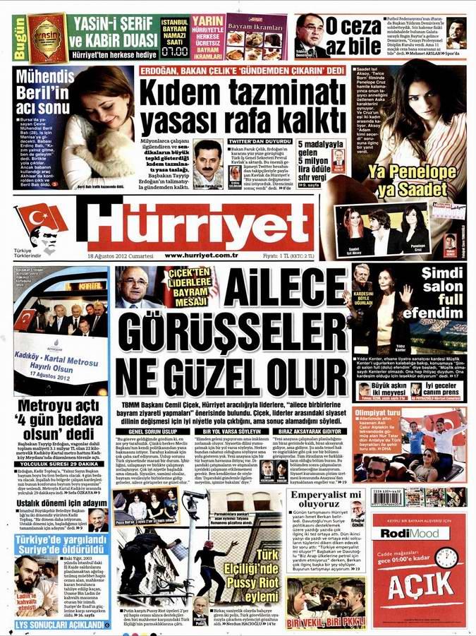 Gazete Manşetleri - 18 Ağustos Cumartesi 18