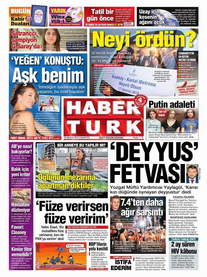 Gazete Manşetleri - 18 Ağustos Cumartesi 19