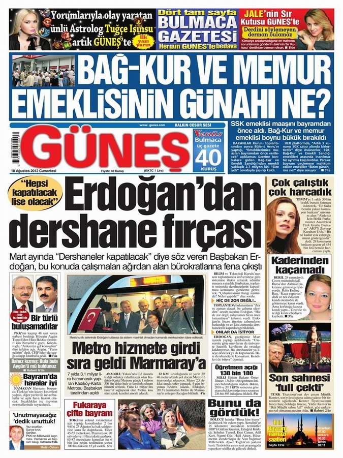 Gazete Manşetleri - 18 Ağustos Cumartesi 20