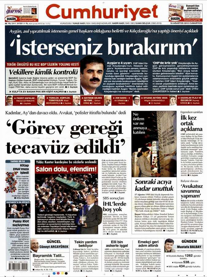 Gazete Manşetleri - 18 Ağustos Cumartesi 21