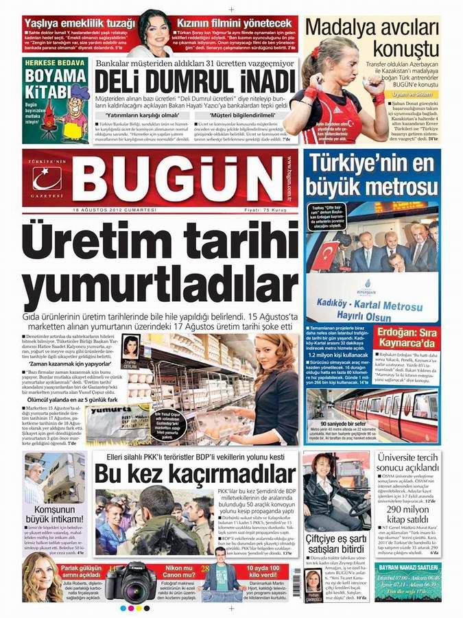 Gazete Manşetleri - 18 Ağustos Cumartesi 22