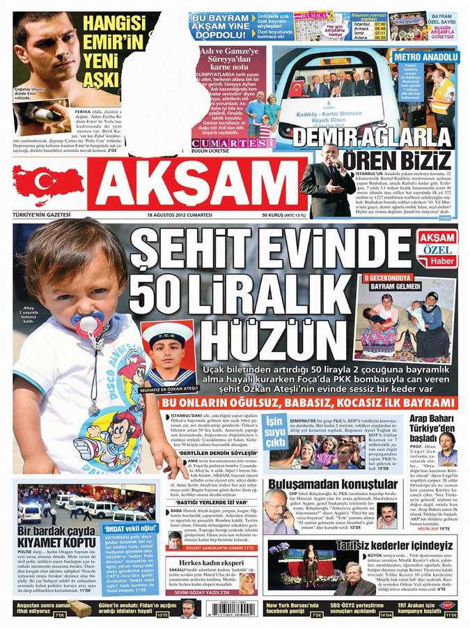 Gazete Manşetleri - 18 Ağustos Cumartesi 24