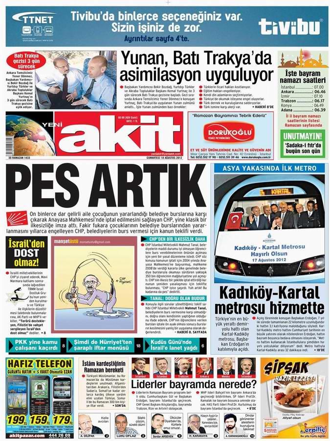 Gazete Manşetleri - 18 Ağustos Cumartesi 4