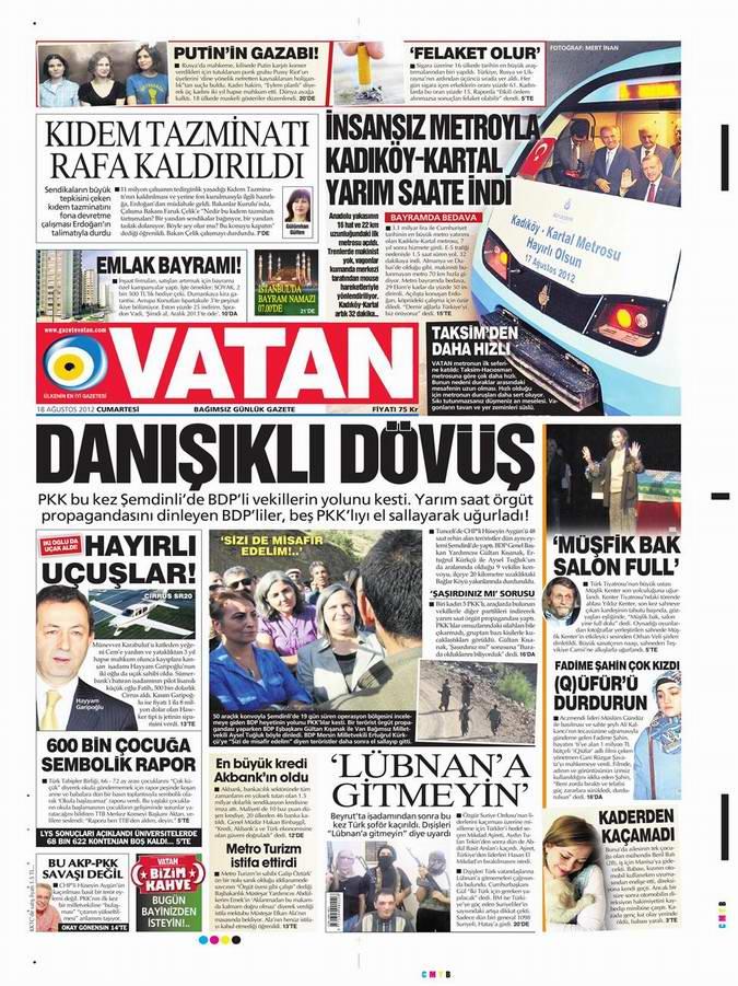 Gazete Manşetleri - 18 Ağustos Cumartesi 5