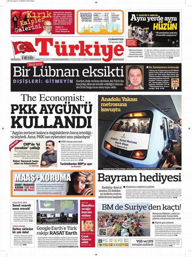 Gazete Manşetleri - 18 Ağustos Cumartesi 6