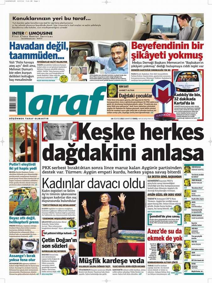 Gazete Manşetleri - 18 Ağustos Cumartesi 8