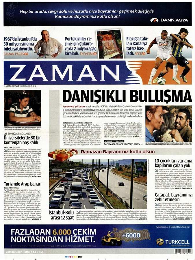 Gazete Manşetleri - 19 Ağustos Pazar 1