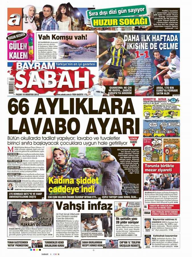 Gazete Manşetleri - 19 Ağustos Pazar 11