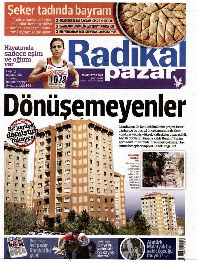 Gazete Manşetleri - 19 Ağustos Pazar 12