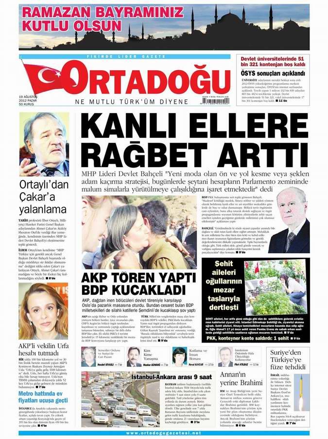 Gazete Manşetleri - 19 Ağustos Pazar 14