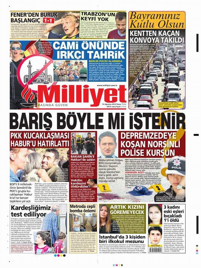 Gazete Manşetleri - 19 Ağustos Pazar 15