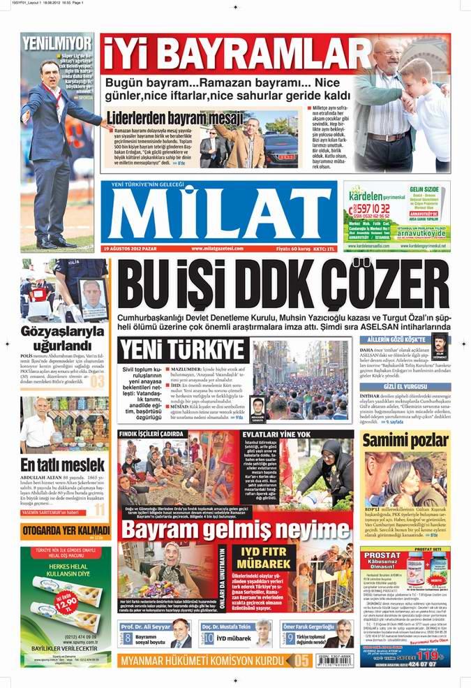 Gazete Manşetleri - 19 Ağustos Pazar 17