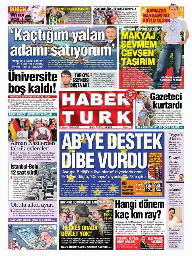Gazete Manşetleri - 19 Ağustos Pazar 19