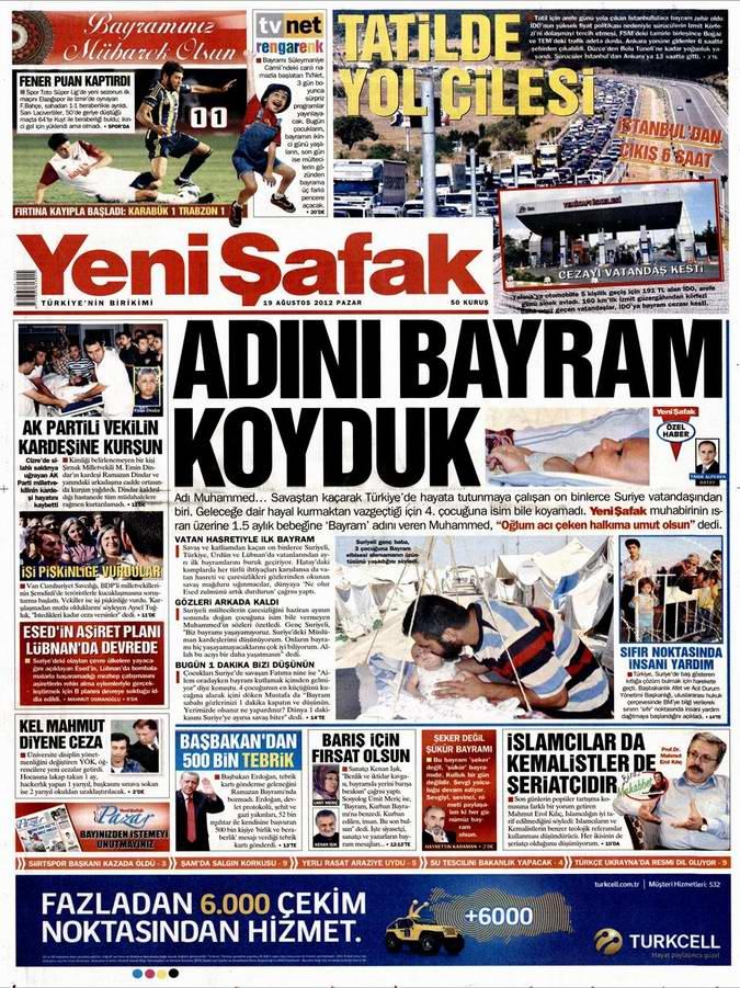Gazete Manşetleri - 19 Ağustos Pazar 2