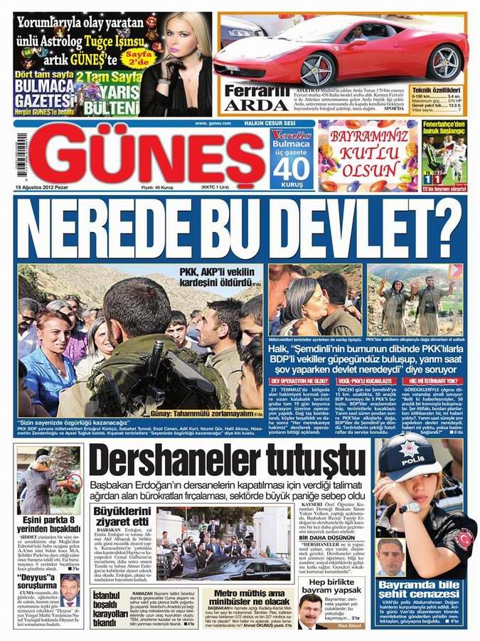 Gazete Manşetleri - 19 Ağustos Pazar 20