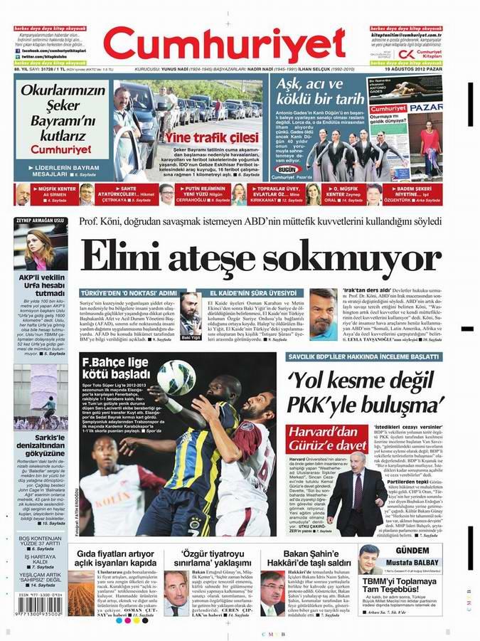 Gazete Manşetleri - 19 Ağustos Pazar 21