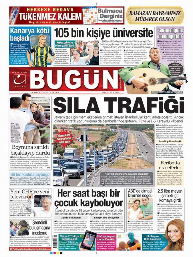 Gazete Manşetleri - 19 Ağustos Pazar 22
