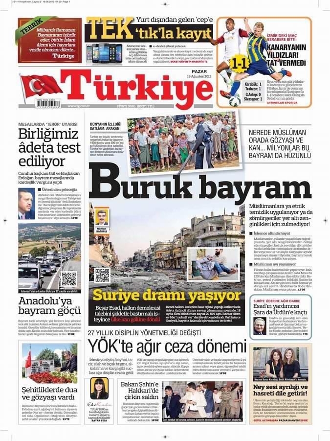 Gazete Manşetleri - 19 Ağustos Pazar 6