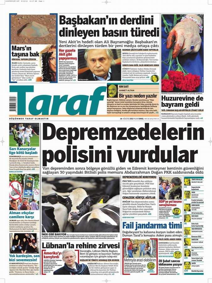 Gazete Manşetleri - 19 Ağustos Pazar 8