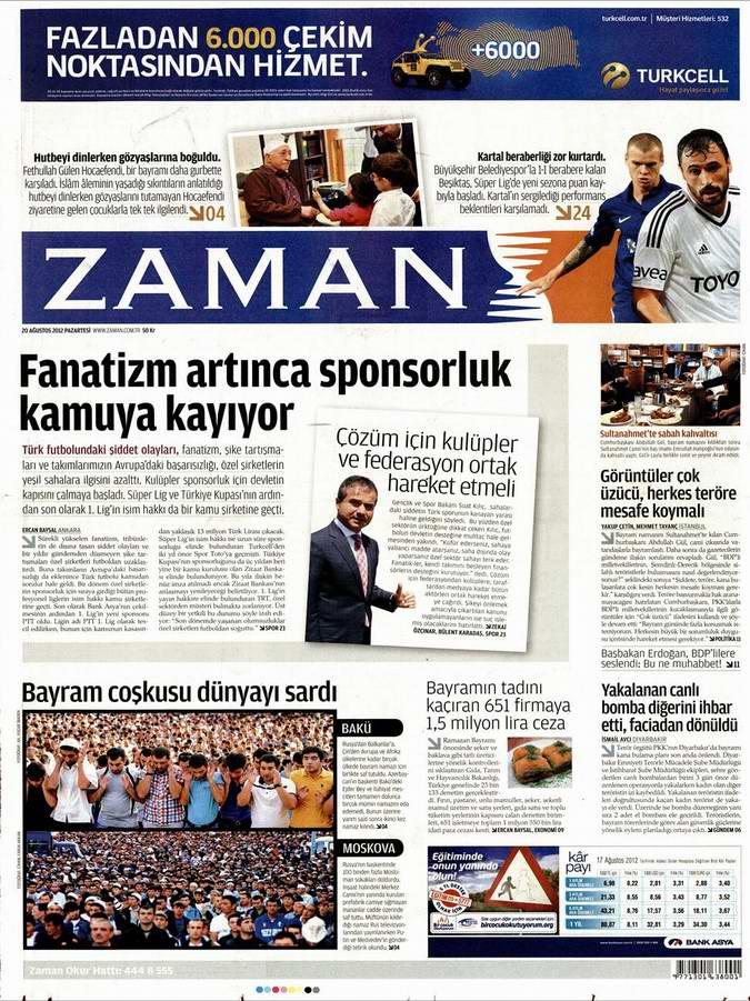 Gazete Manşetleri - 20 Ağustos Pazartesi 1