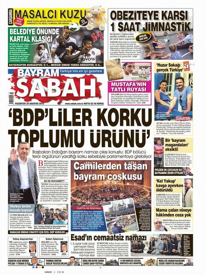 Gazete Manşetleri - 20 Ağustos Pazartesi 10