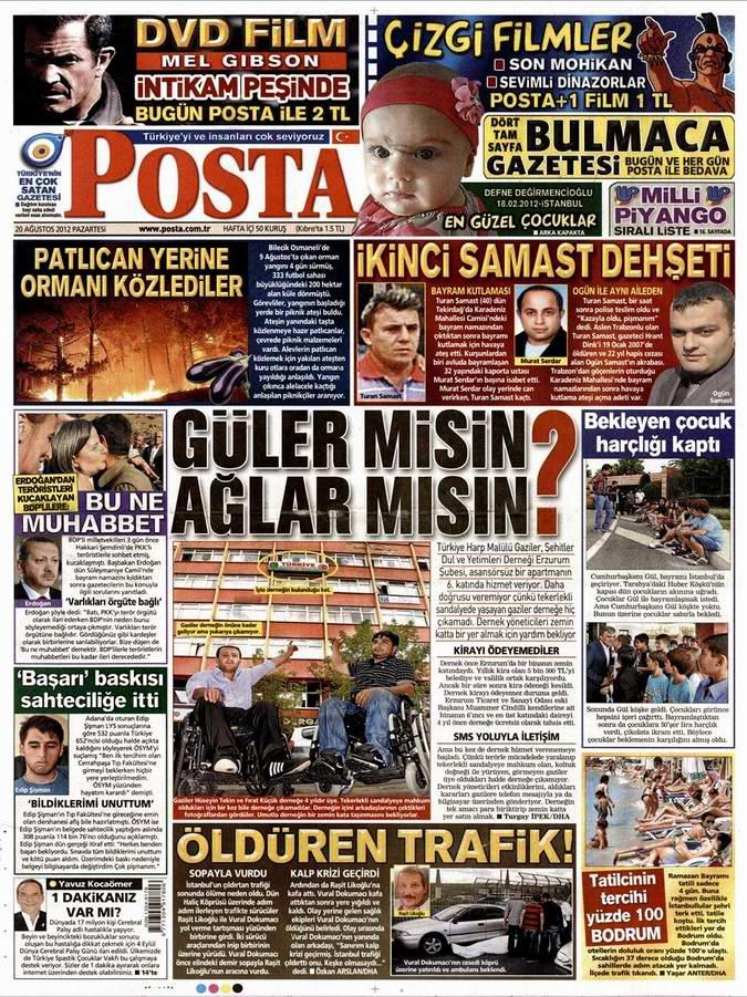Gazete Manşetleri - 20 Ağustos Pazartesi 12