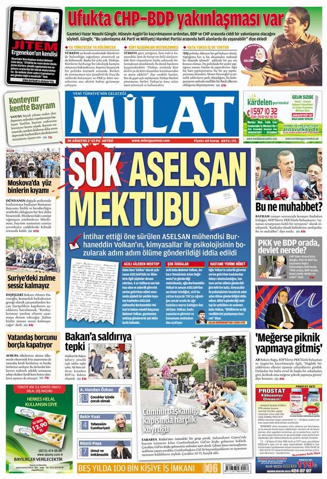 Gazete Manşetleri - 20 Ağustos Pazartesi 14