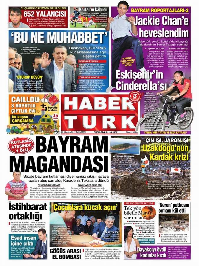Gazete Manşetleri - 20 Ağustos Pazartesi 16