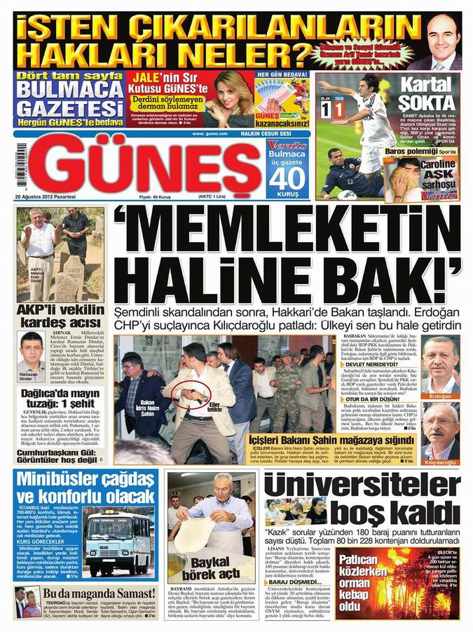 Gazete Manşetleri - 20 Ağustos Pazartesi 17