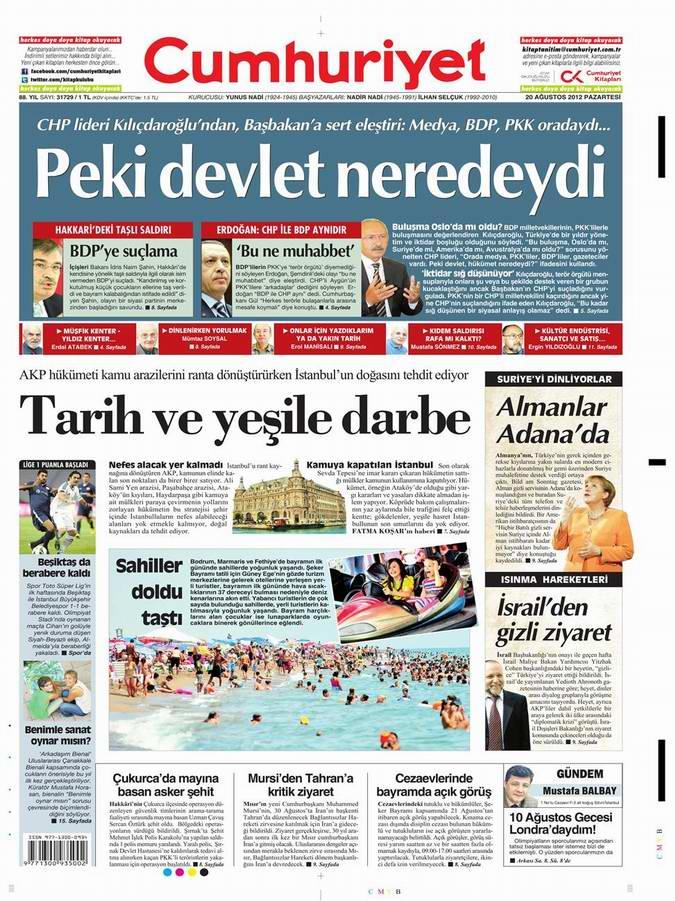 Gazete Manşetleri - 20 Ağustos Pazartesi 18
