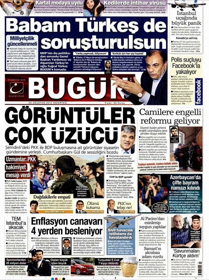 Gazete Manşetleri - 20 Ağustos Pazartesi 19