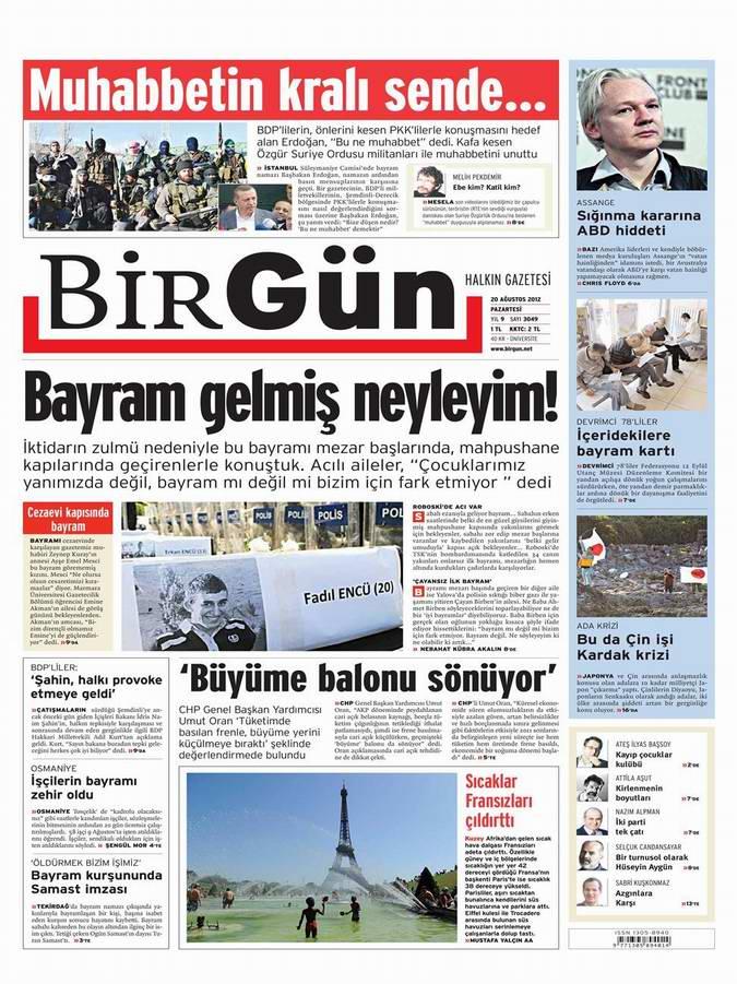 Gazete Manşetleri - 20 Ağustos Pazartesi 20