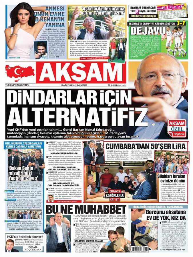 Gazete Manşetleri - 20 Ağustos Pazartesi 21