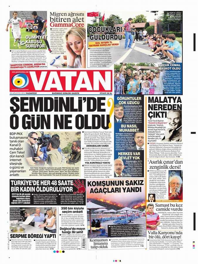 Gazete Manşetleri - 20 Ağustos Pazartesi 5